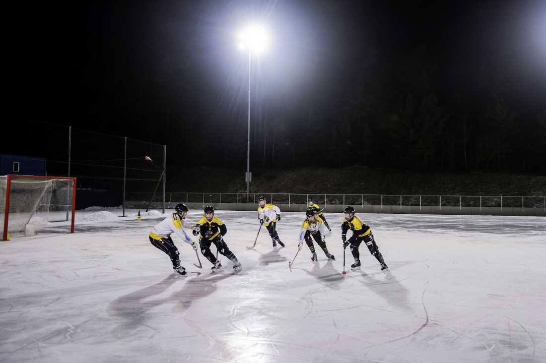 AIK tränar på Bergshamra IP.
