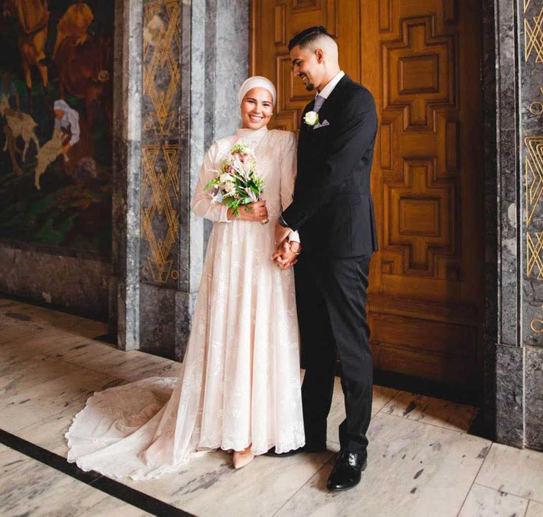 Iman Meskini gifte sig med Mourad Jarrari  i rådhuset i Oslo.