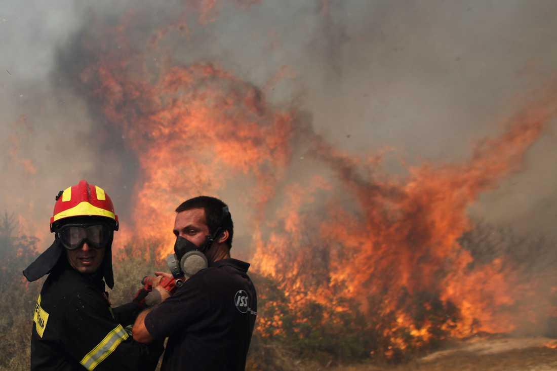 Brandmän kämpar mot lågorna.