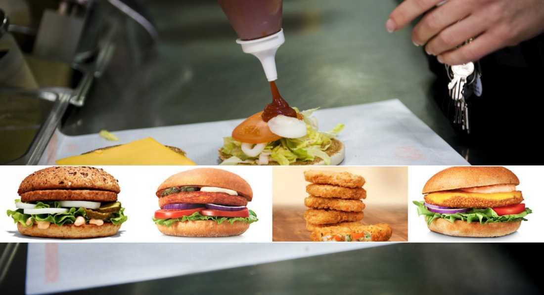 Flera av de vegetariska produkterna kan friteras med kyckling.