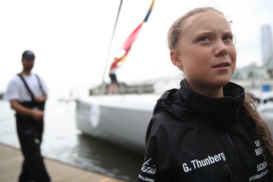 Greta Thunberg anlände till New York med båten Malizia II i onsdags.