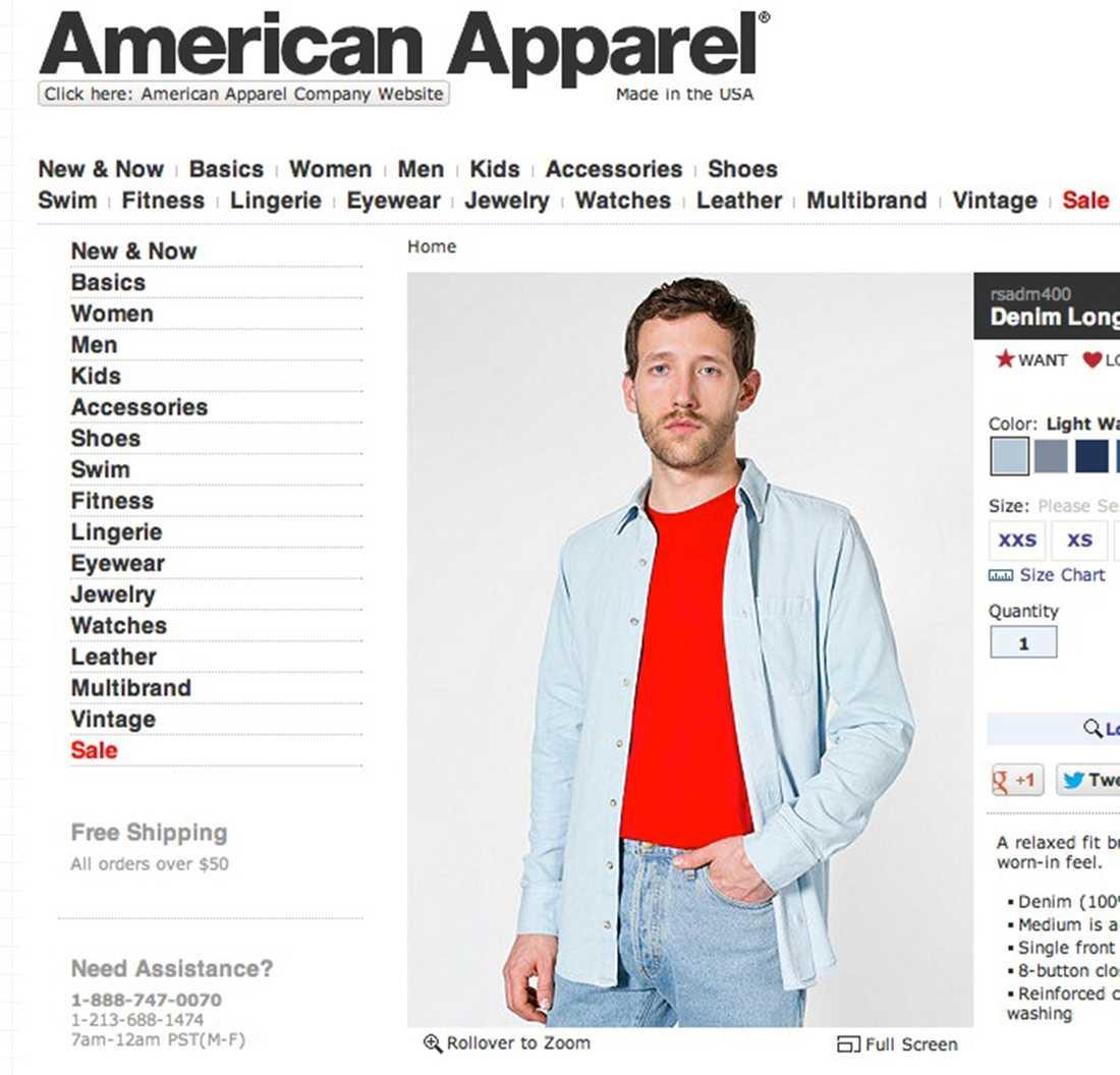 Här är American Apparels skyltning i den manliga delen av deras webshop...