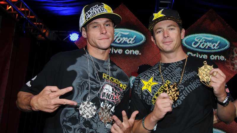 Brian Deegan och Tanner Foust med sina X Games-medaljer. I helgen fajtas Tanner Foust om nya poäng i rallycross-EM.