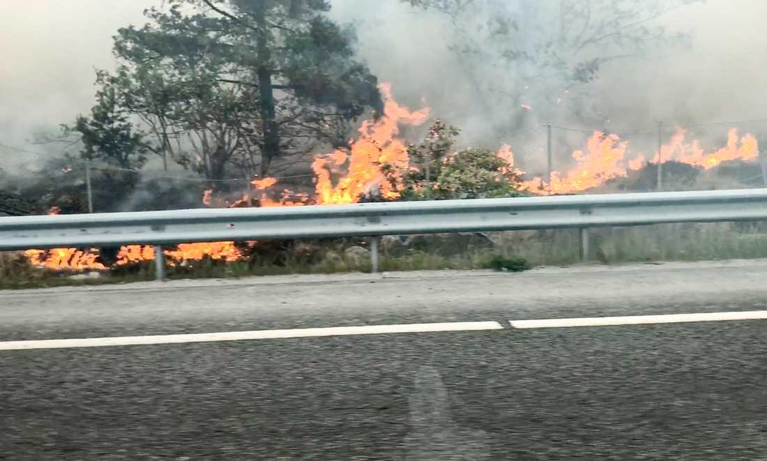 Skogsbranden i Svindersvik tvingade fram trafikavspärrningar längs Värmdövägen.