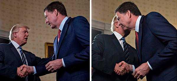 Donald Trump och den nu sparkade FBI-chefen James Comey.