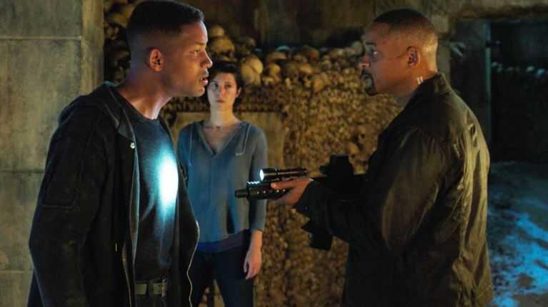 "Will Smith och Mary Elizabeth Winstead i ""Gemini man""."