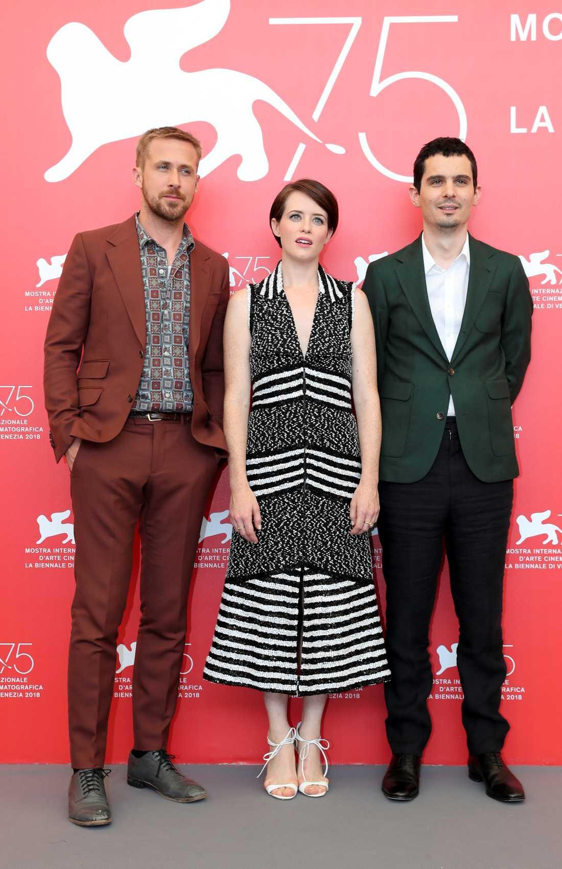 Ryan Gosling, Claire Foy och regissören Damien Chazelle.