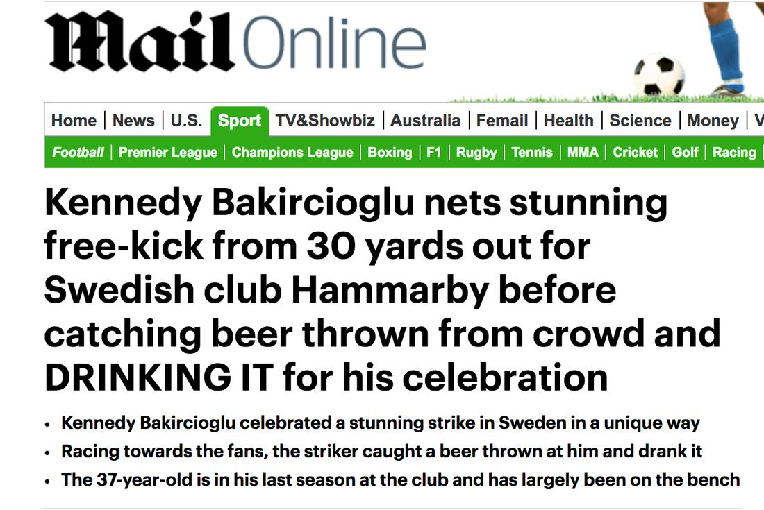 Kennedy Bakircioglus målfirande omskrivet i England...