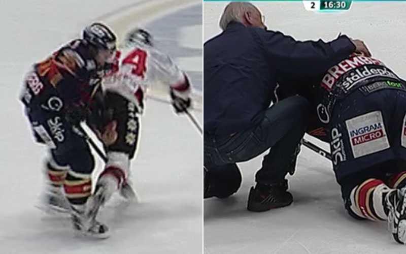 Bremberg tvingades lämna isen efter tacklingen.