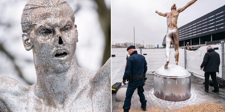 Zlatans vandaliserade staty vid Stadiontorget i Malmö.