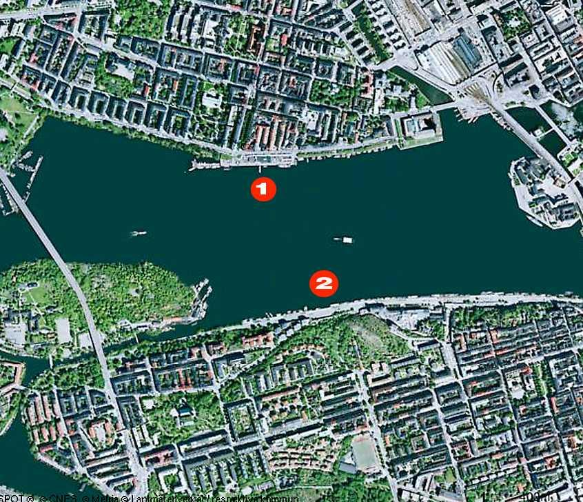 """Nu föreslås en flytt av det planerade kallbadhuset från Norr Mälarstrand (1) till Skinnarviksberget (2). """"Roligt att aktivera området"""", säger arkitekten."""