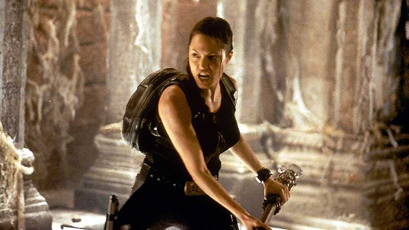 Angelina Jolie som Lara Croft.