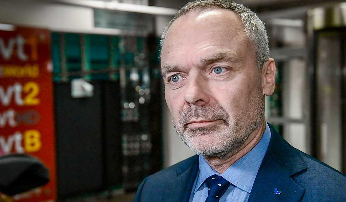Liberalernas partiledare Jan Björklund innan Agenda.