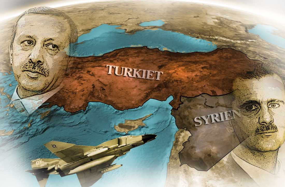 Olika versioner  I fredags sköts ett turkiskt stridsplan ner av syriskt luftvärn. Länderna har olika versioner om händelsen. Grafik: Paul Wallander