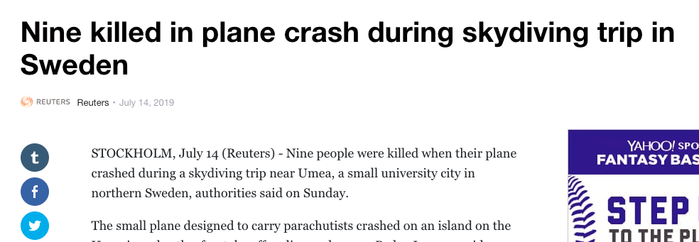 """Nyhetsbyrån Reuters berättar om fallskärmsturen som slutade med kraschen nära den """"lilla universitetsstaden Umeå i norra Sverige""""."""