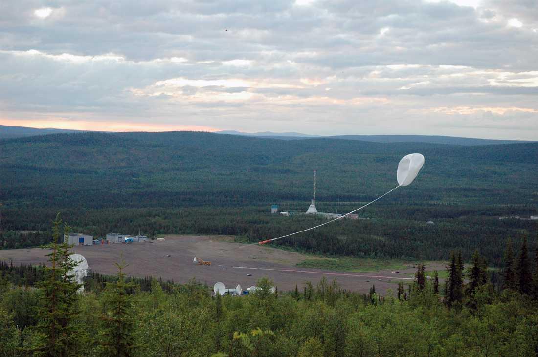 Flera tidigare experimentballonger har skickats upp från Esrange i forskningssyfte. Här är en ballong som skickades upp 2011. Arkivbild.