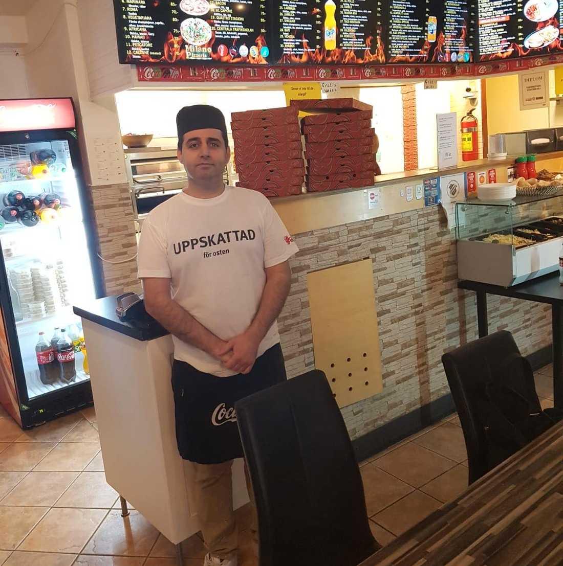 Pizzeria Milanos ägare Dakhaz Hussein Teli Teli.