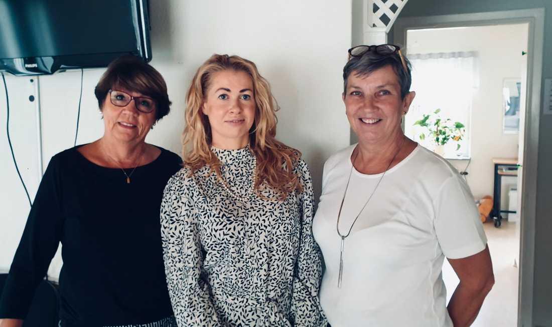 Pernilla Ericson träffar Elisabeth Uddén, jourens ordförande och Anne Saarinen, koordinator och personalvetare.