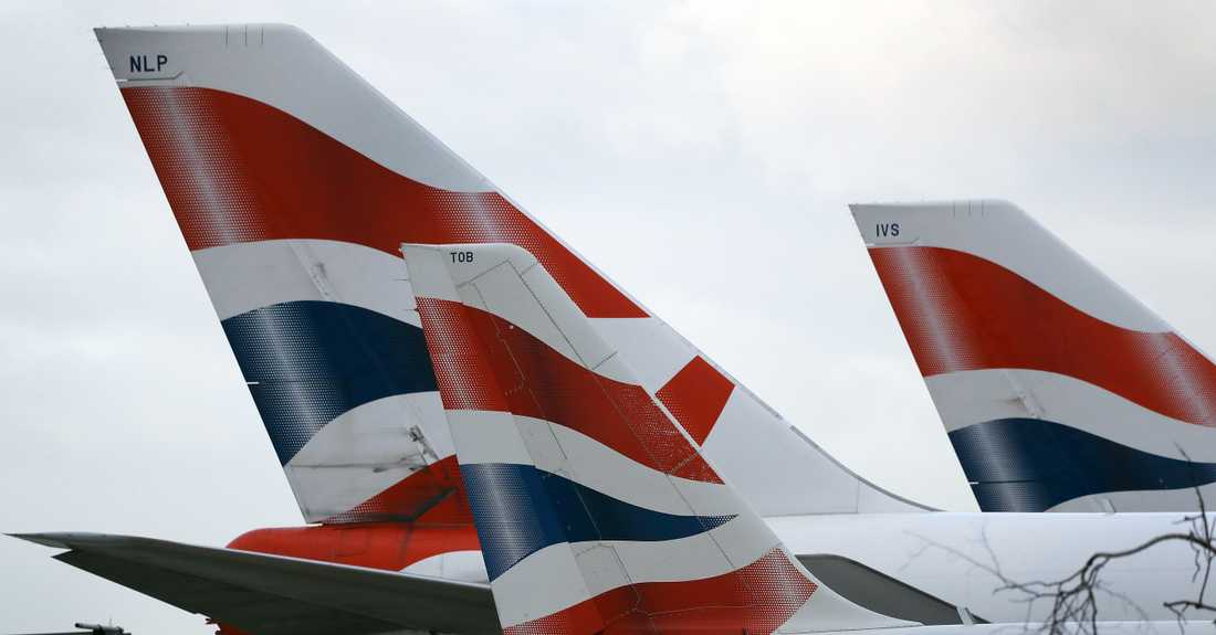 Flygplan ur British Airways flotta. Arkivbild