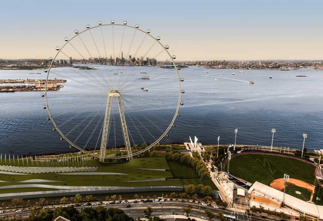 En animerad bild av hur världens högsta pariserhjul kommer att se ut. Även ett stort köpcentrum och ett hotellkomplex planeras på Staten Island för att locka besökare från New York City.