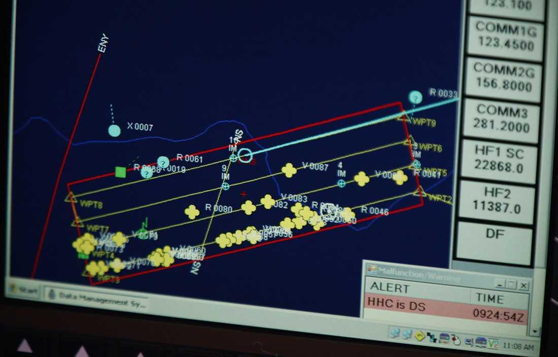 De gula prickarna markerar möjliga fynd.