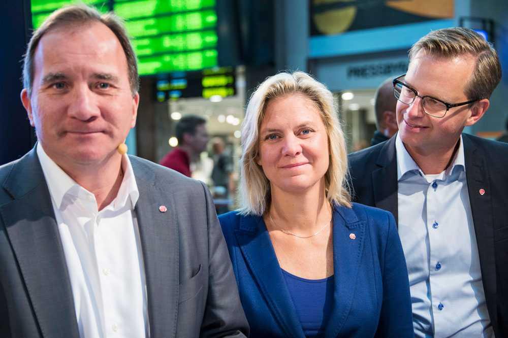 Stefan Löfven, Magdalena Anderson och Mikael Damberg.