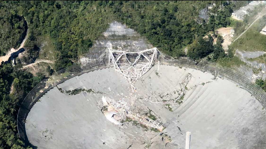 Det berömda radioteleskopet Arecibo är förstört.