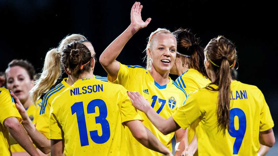 Seger firar ett mål mot Island i Algarve Cup i mars i år.
