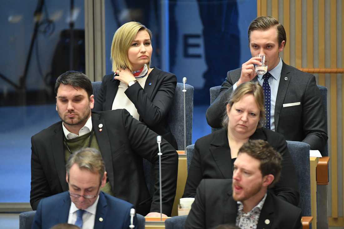 Ebba Busch-Thor på plats för statsministeromröstning i Riksdagen.