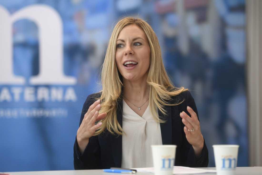Jessica Rosencrantz vid en presskonferens förra året.