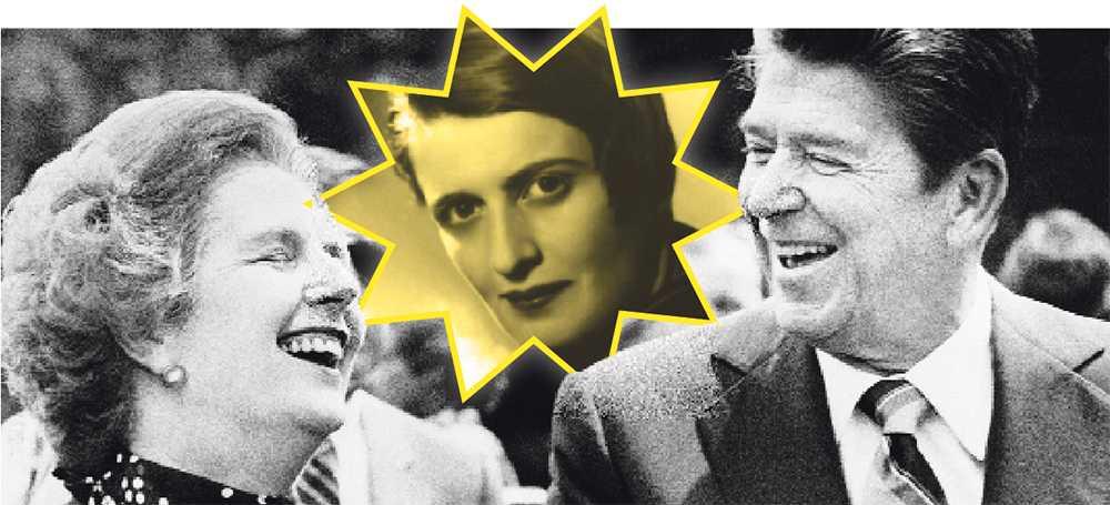 som en sekt  Margaret Thatcher och Ronald Reagan 1982 – och ständigt närvarande Ayn Rand. Den nyliberala ideologens mest kända böcker ges nu ut på nytt. Foto: AP och timbro