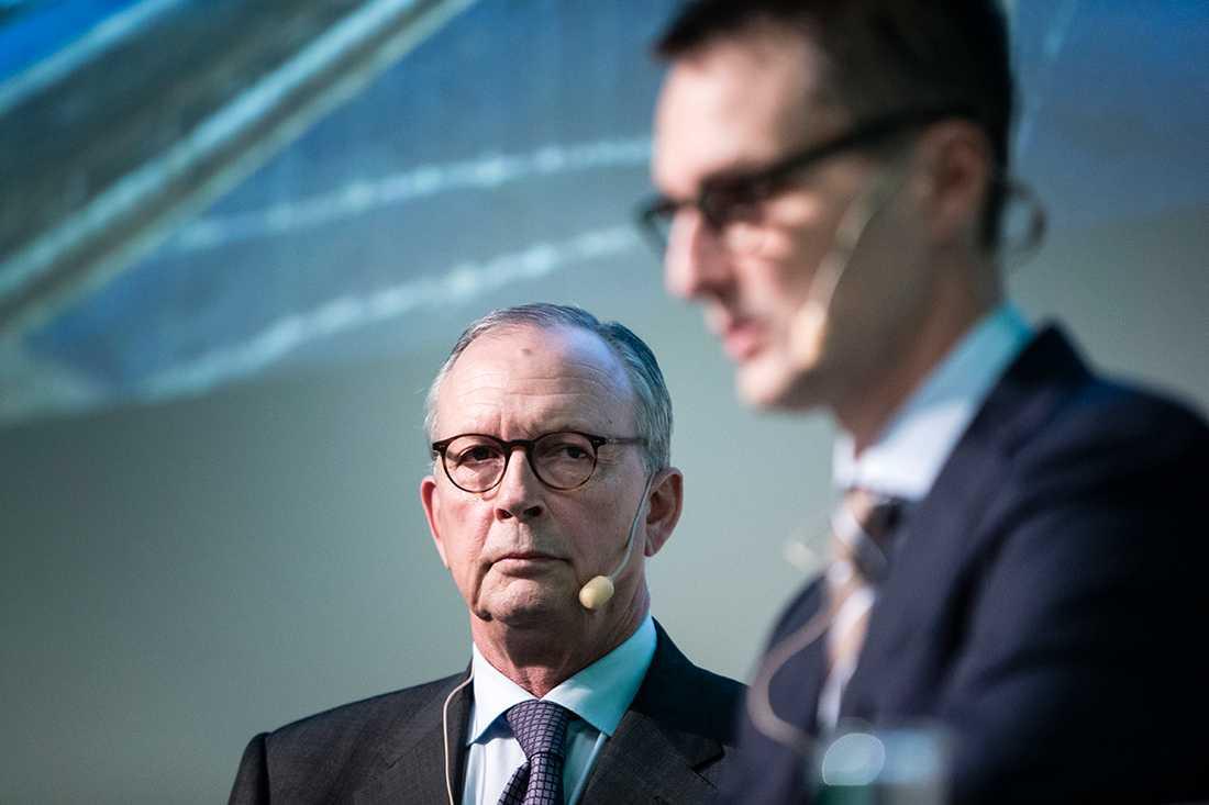 """Mediekoncernen """"Stampen"""" ställer in betalningarna och ansöker om rekonstruktion för 16 av sina bolag. På bilden: Peter Hjörne, styrelseordförande och huvudägare och Martin Alsander, koncernchef."""