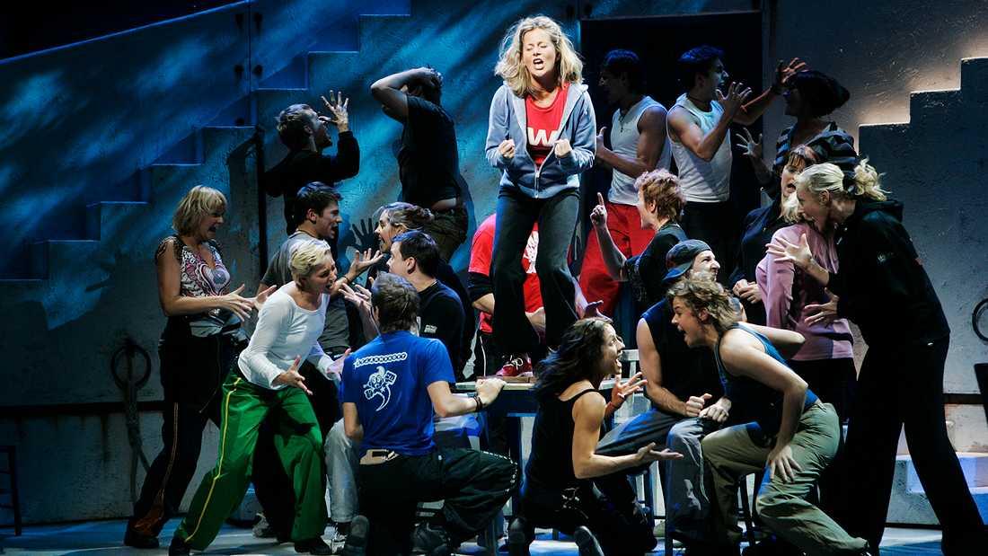 """Gunilla Backman som Donna i den svenska uppsättningen av """"Mamma Mia!""""."""
