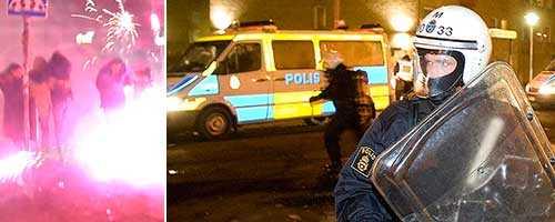 Krig med nyårsraketer på Möllevången, ipplopp i stadsdelen Rosengård.