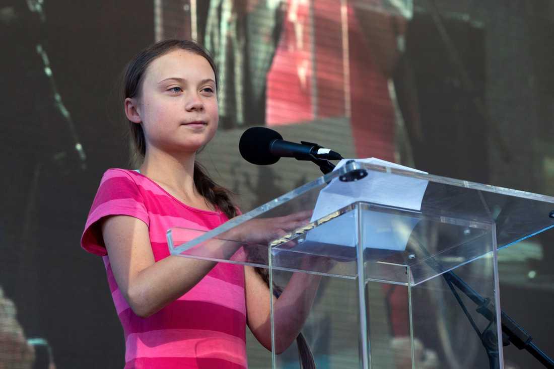 Greta Thunberg höll sitt tal vid 23-tiden på fredagskvällen, svensk tid.