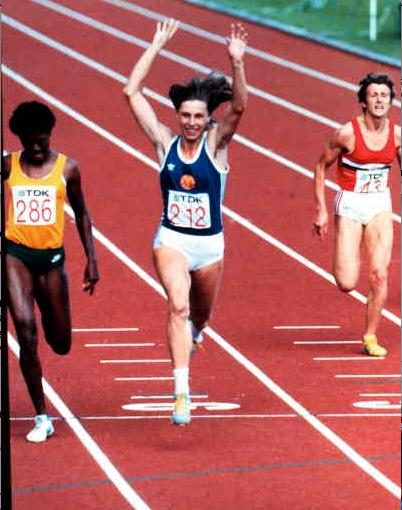 1983 och VM i Helsingfors. Ottey tvåa efter Marita Koch på 200 m.