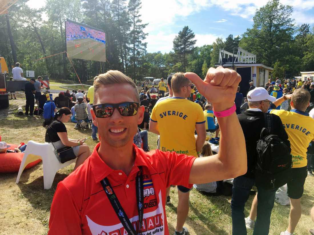 Andreas Jonsson, speedwayförare och Sverige-supporter.