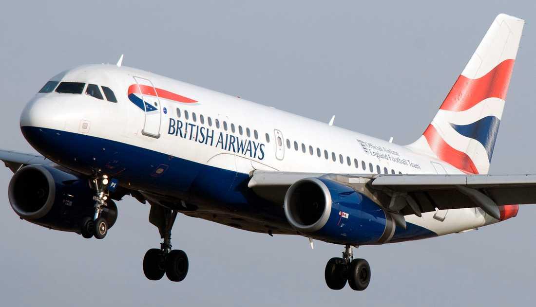 Ett av British Airways Airbus A319-flygplan på väg in för landning på Arlanda flygplats. Arkivbild.