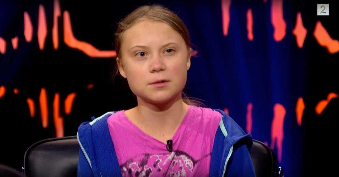 Greta Thunberg säger i Skavlan att hon visste att Donald Trump skulle skriva något på Twitter.