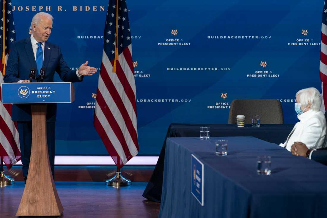 USA:s blivande president Joe Biden och Janet Yellen som han nominerat till posten som finansminister.