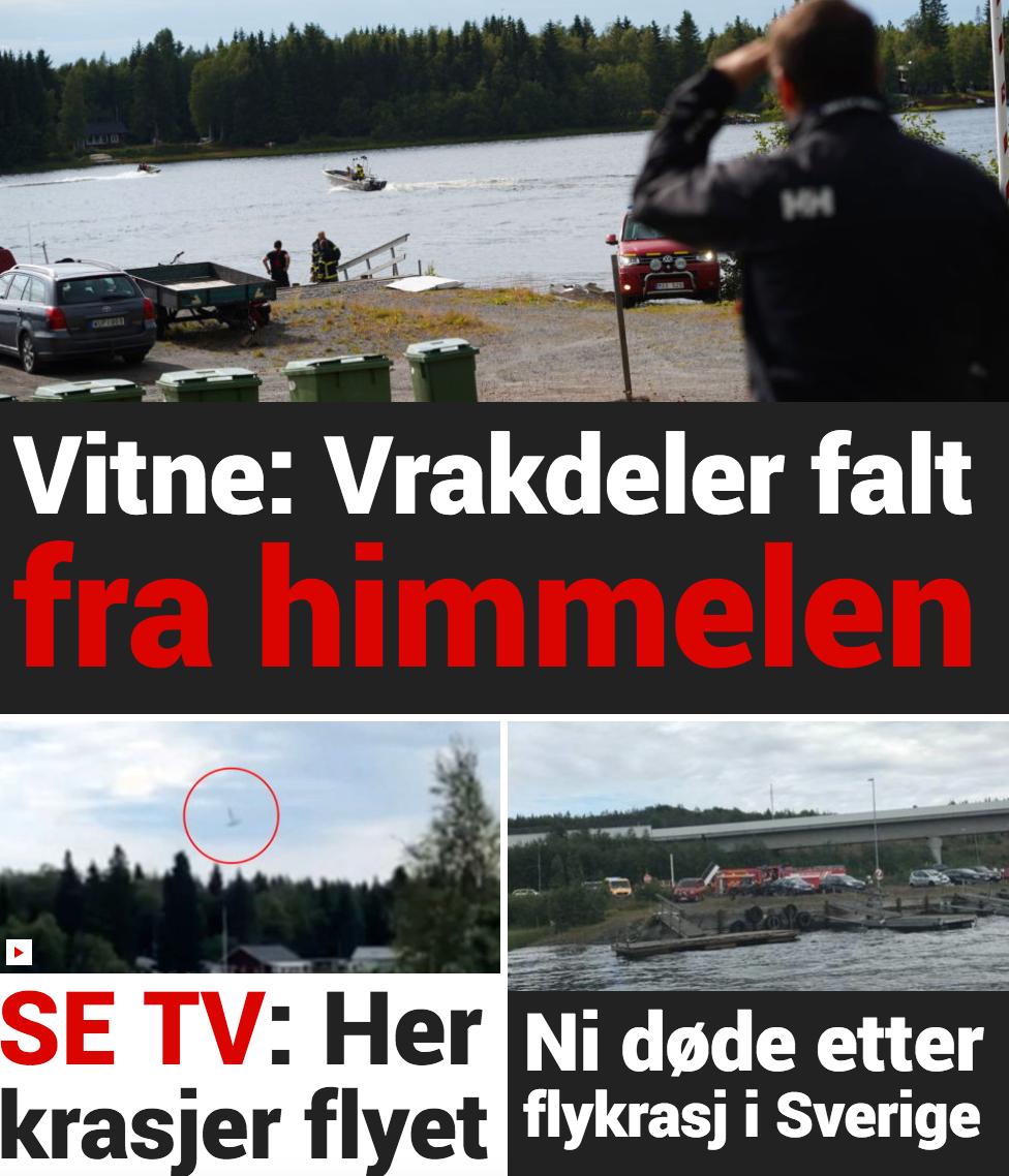 Norska Dagbladet skriver om ett vittne som berättar att vrakdelar sågs falla från skyn.