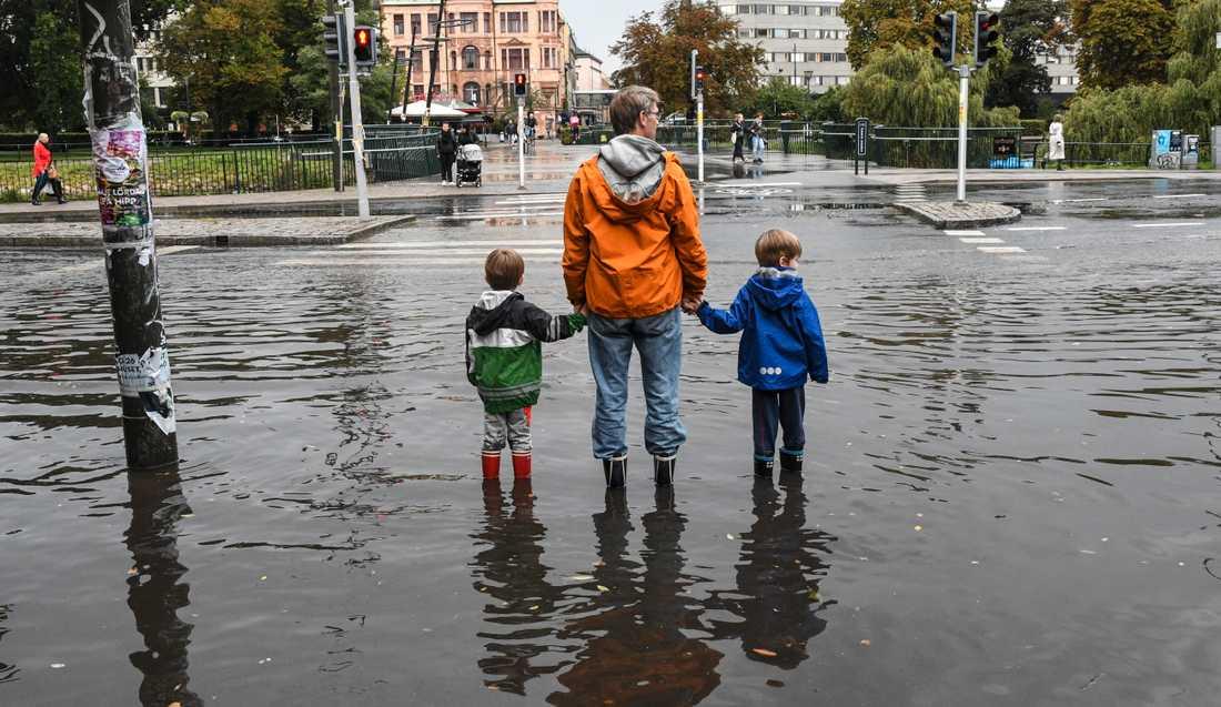 Översvämning i centrala Malmö 2014.