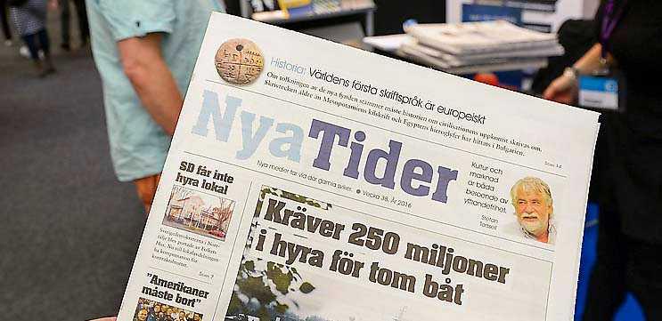 Högerextrema tidningen Nya tider på Bokmässan förra året.