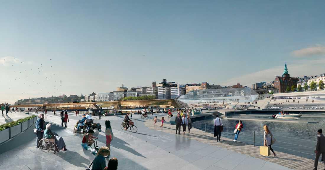Rendering av framtidens Slusstorget, på Gamla stan-sidan av Slussen.