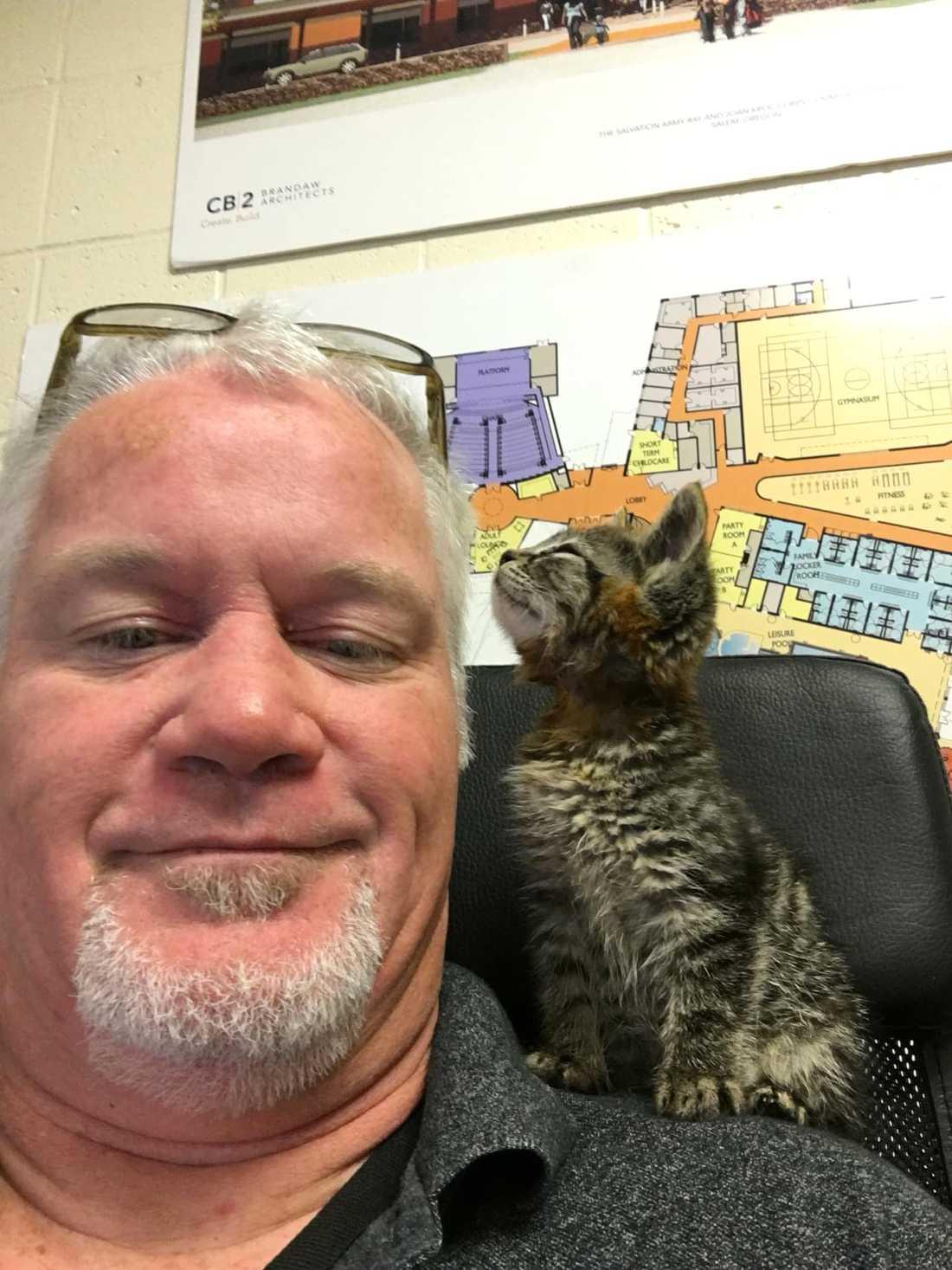 Chuck räddade katten från vägen.