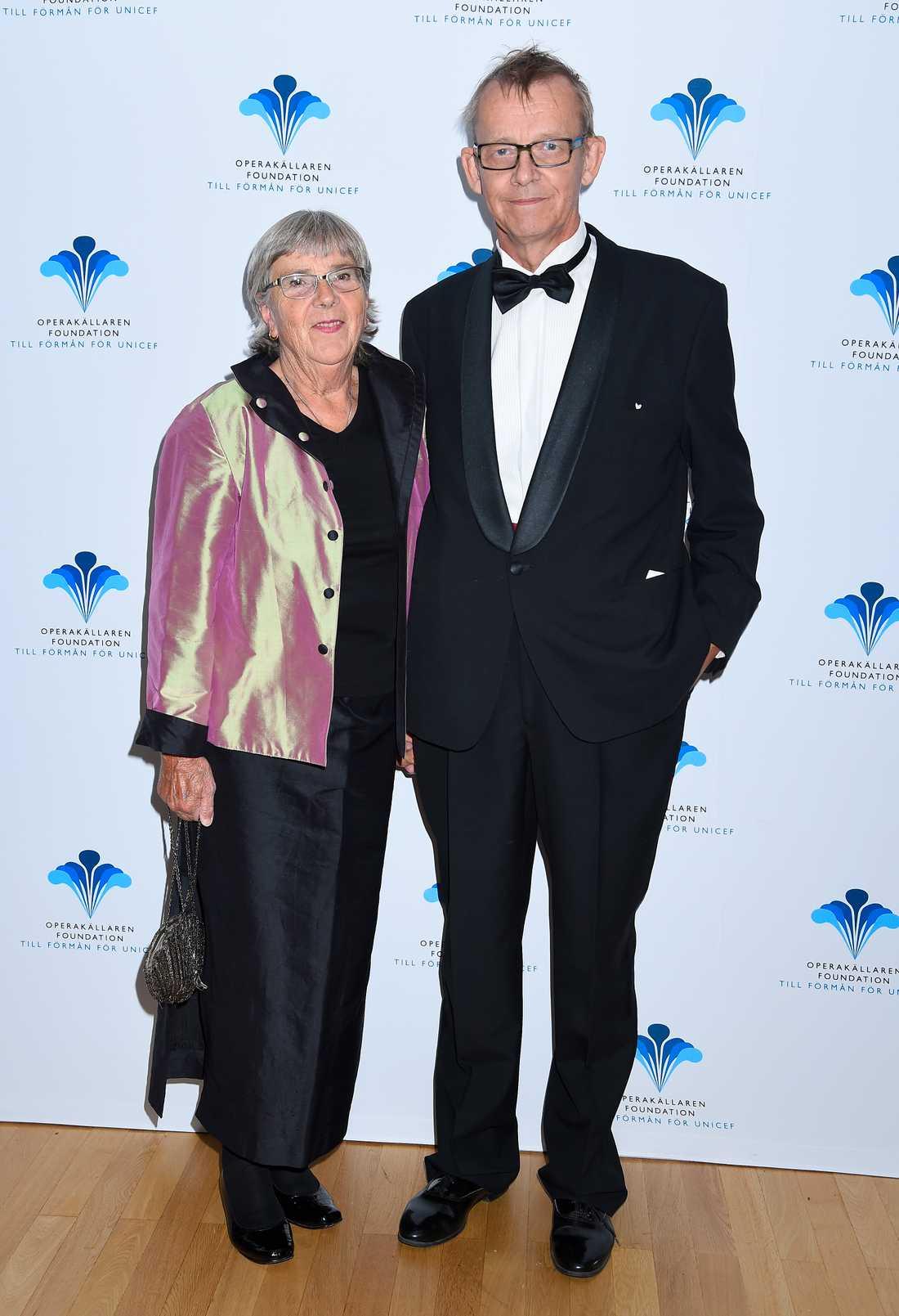Hans Rosling med sin fru Agneta på Operakällaren Foundation till förmån för UNICEF i september i fjol.