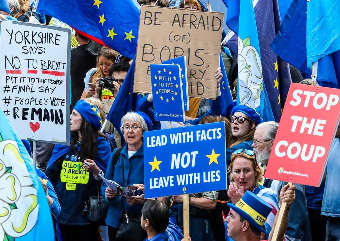 Brexitprotester i Storbritanniens huvudstad London i början av september.