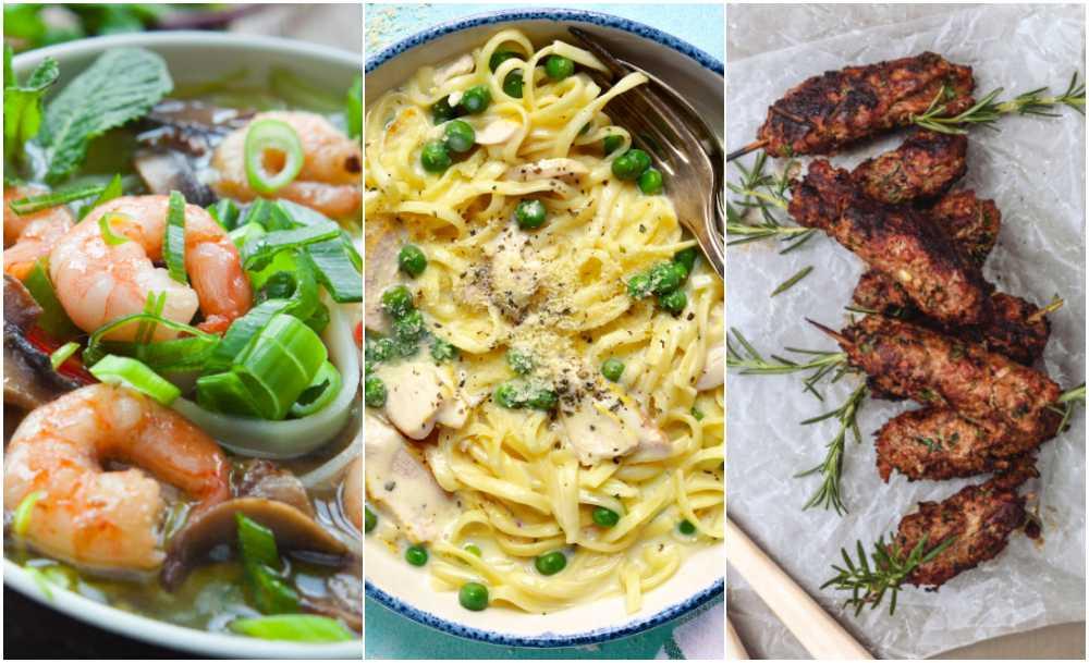 Soppa, pasta och grillat.