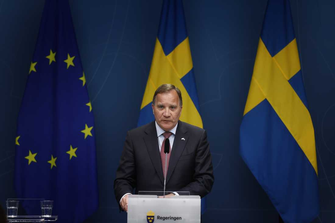 Statsminister Stefan Löfven (S) vid en pressträff om förändringar i reserestriktionerna under coronapandemin.