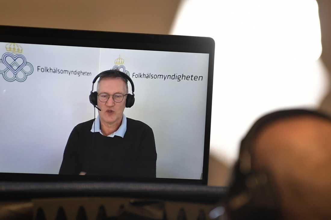 Anders Tegnell, statsepidemiolog på Folkhälsomyndigheten, under torsdagens digitala myndighetsgemensamma pressträff om pandemin.